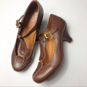 Chie Mihara Brown Leather T-Strap Heels Size 36.5
